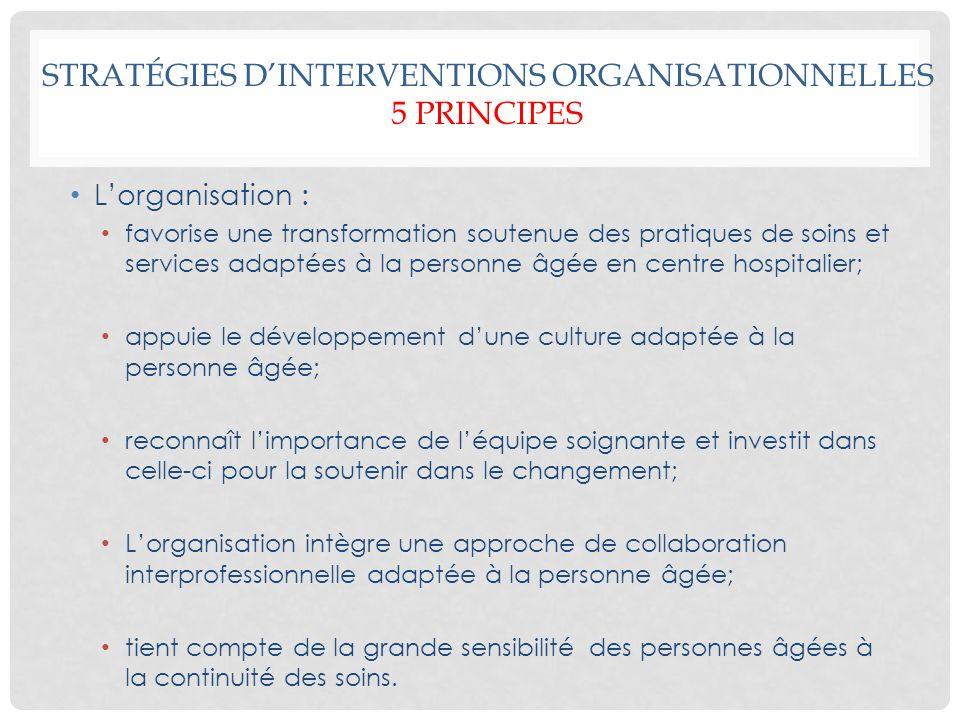 STRATÉGIES DINTERVENTIONS ORGANISATIONNELLES 5 PRINCIPES Lorganisation : favorise une transformation soutenue des pratiques de soins et services adapt