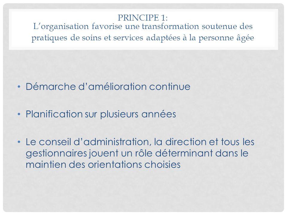 PRINCIPE 1: Lorganisation favorise une transformation soutenue des pratiques de soins et services adaptées à la personne âgée Démarche damélioration c