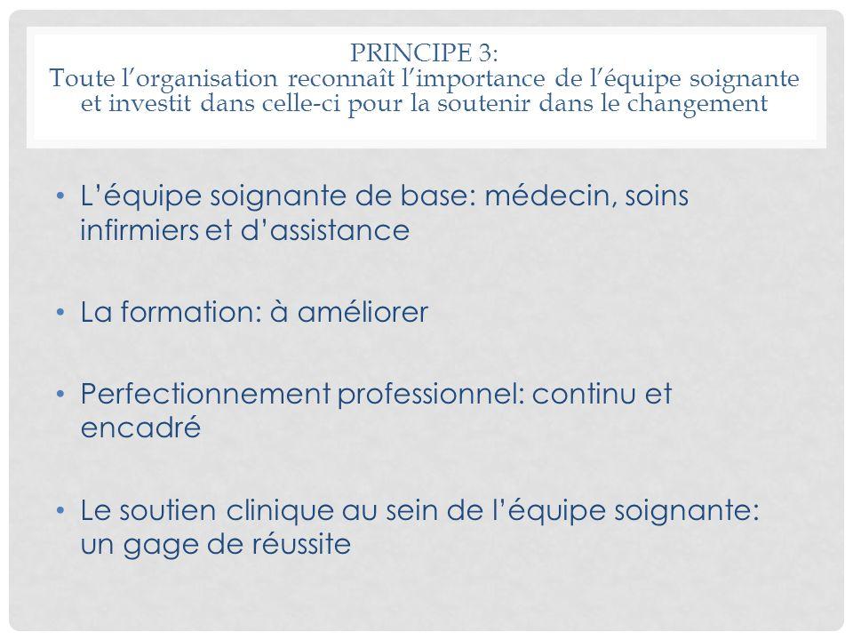 PRINCIPE 3: Toute lorganisation reconnaît limportance de léquipe soignante et investit dans celle-ci pour la soutenir dans le changement Léquipe soign