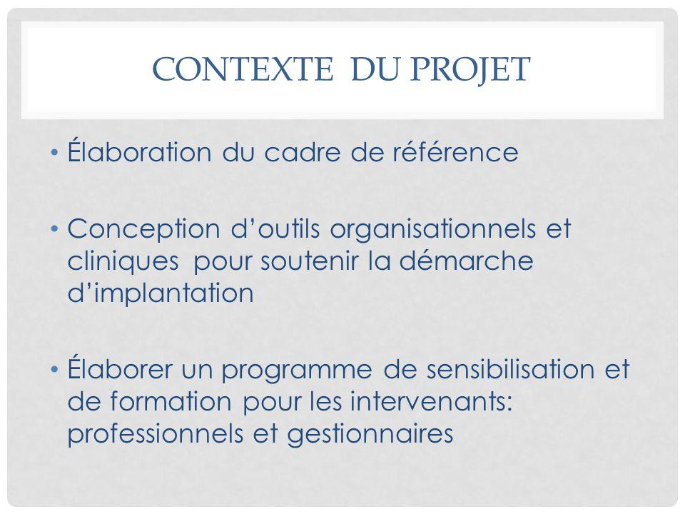 CONTEXTE DU PROJET Élaboration du cadre de référence Conception doutils organisationnels et cliniques pour soutenir la démarche dimplantation Élaborer