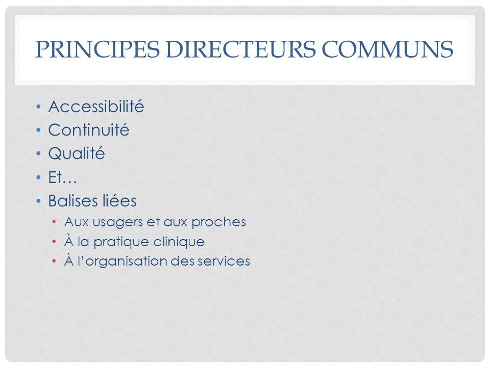 PRINCIPES DIRECTEURS COMMUNS Accessibilité Continuité Qualité Et… Balises liées Aux usagers et aux proches À la pratique clinique À lorganisation des