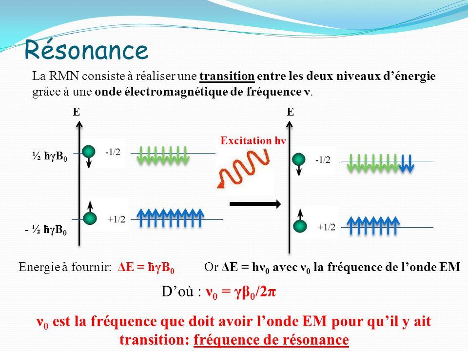 Excitation hν E E - ½ ћγB 0 ½ ћγB 0 La RMN consiste à réaliser une transition entre les deux niveaux dénergie grâce à une onde électromagnétique de fr