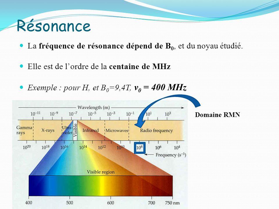 Résonance La fréquence de résonance dépend de B 0, et du noyau étudié. Elle est de lordre de la centaine de MHz Exemple : pour H, et B 0 =9,4T, ν 0 =