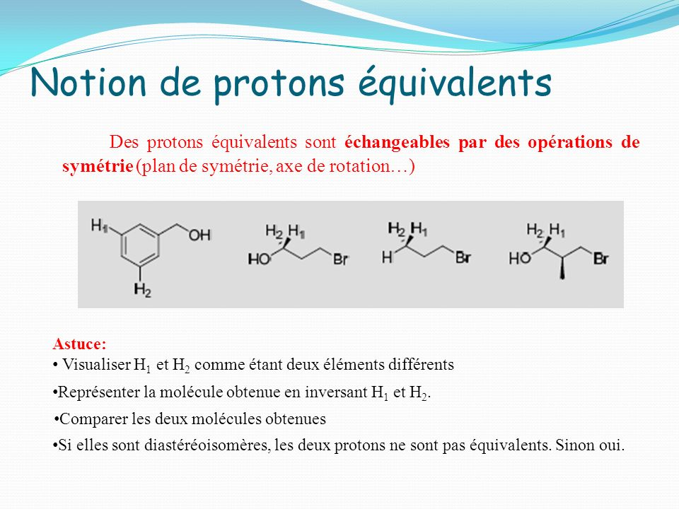 Notion de protons équivalents Des protons équivalents sont échangeables par des opérations de symétrie (plan de symétrie, axe de rotation…) Astuce: Vi