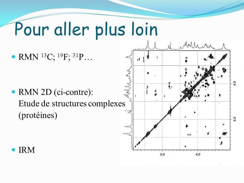 Pour aller plus loin RMN 13 C; 19 F; 31 P… RMN 2D (ci-contre): Etude de structures complexes (protéines) IRM