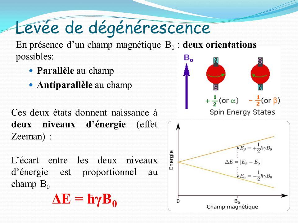 Statistiquement (équation de Boltzmann), le niveau dénergie le plus bas est davantage peuplé Occupation des niveaux dénergie Mais ratio très faible: N(+ ½)/N(- ½)=1,000006 (pour B 0 =1,4 T)