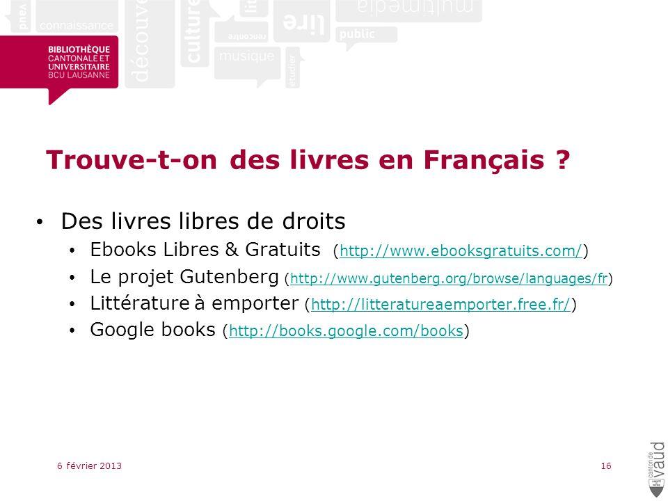 Trouve-t-on des livres en Français .