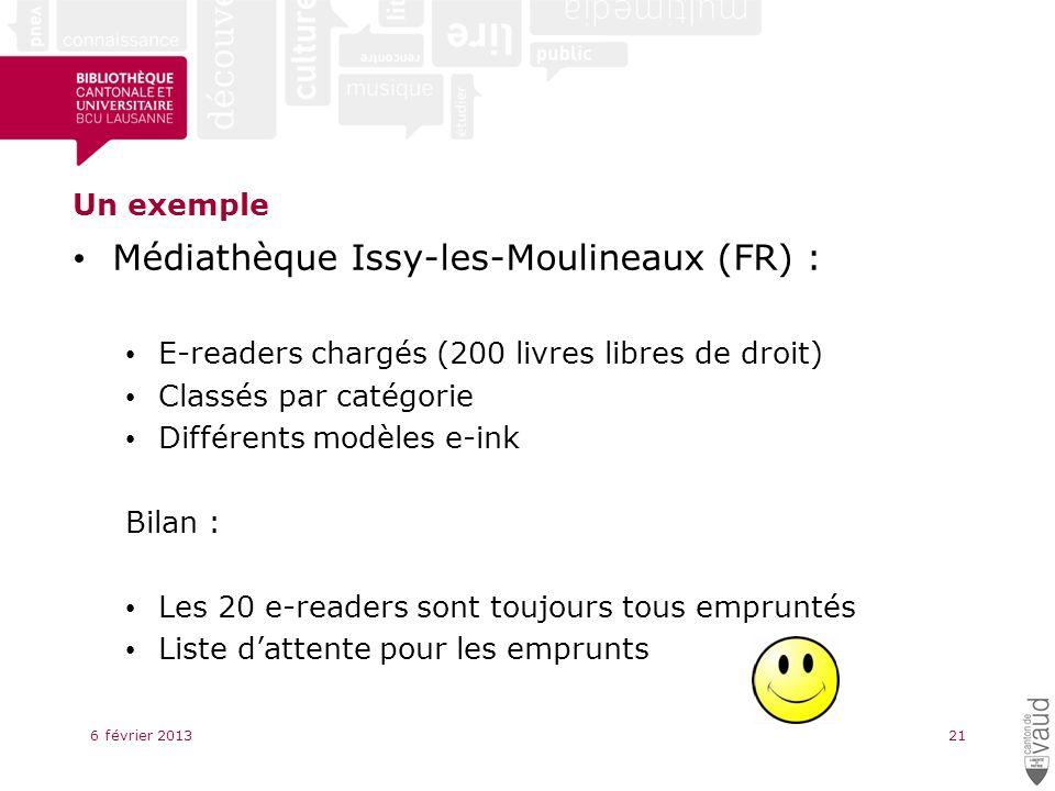 Un exemple Médiathèque Issy-les-Moulineaux (FR) : E-readers chargés (200 livres libres de droit) Classés par catégorie Différents modèles e-ink Bilan : Les 20 e-readers sont toujours tous empruntés Liste dattente pour les emprunts 6 février 201321