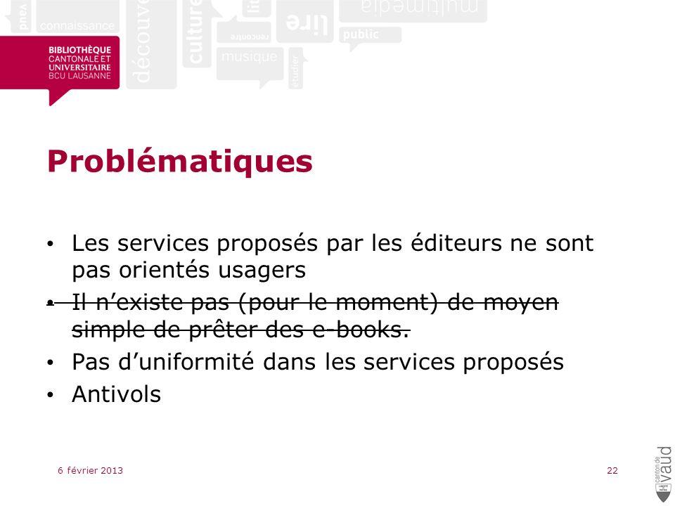 Problématiques Les services proposés par les éditeurs ne sont pas orientés usagers Il nexiste pas (pour le moment) de moyen simple de prêter des e-books.