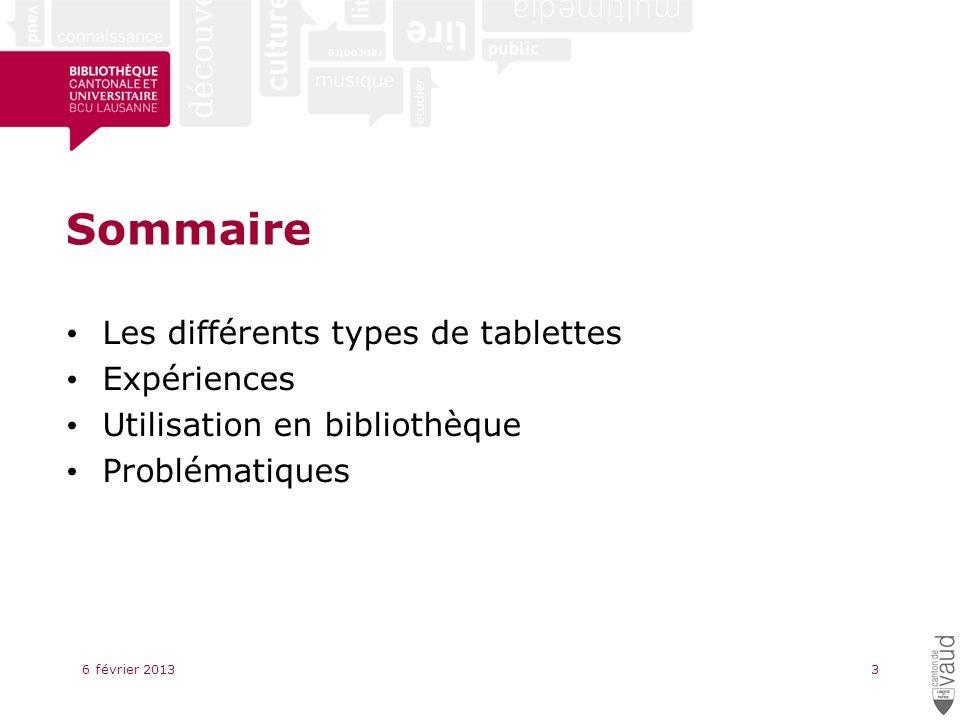 Sommaire Les différents types de tablettes Expériences Utilisation en bibliothèque Problématiques 6 février 20133