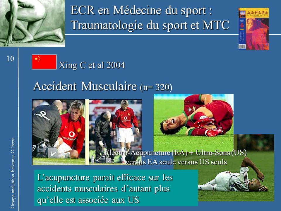 Groupe évaluation Faformec O.Goret Xing C et al 2004 Accident Musculaire (n= 320 Accident Musculaire (n= 320) ECR en Médecine du sport : Traumatologie