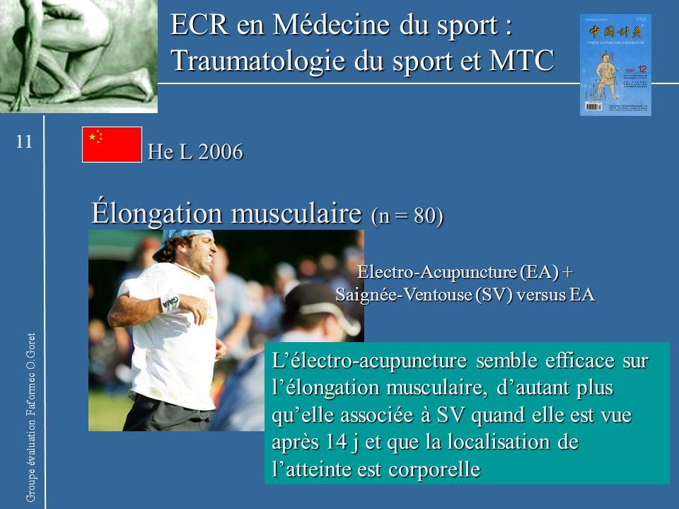 Groupe évaluation Faformec O.Goret He L 2006 Élongation musculaire (n = 80) Lélectro-acupuncture semble efficace sur lélongation musculaire, dautant p