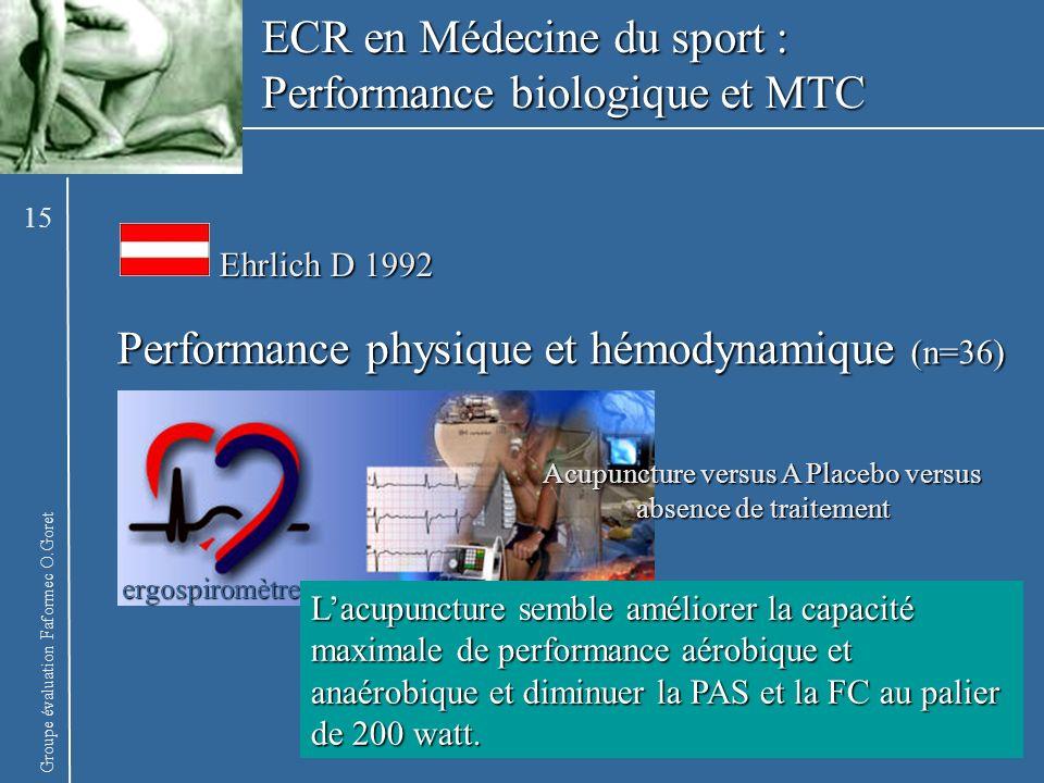 Groupe évaluation Faformec O.Goret Performance physique et hémodynamique (n=36) Ehrlich D 1992 ergospiromètre Acupuncture versus A Placebo versus abse