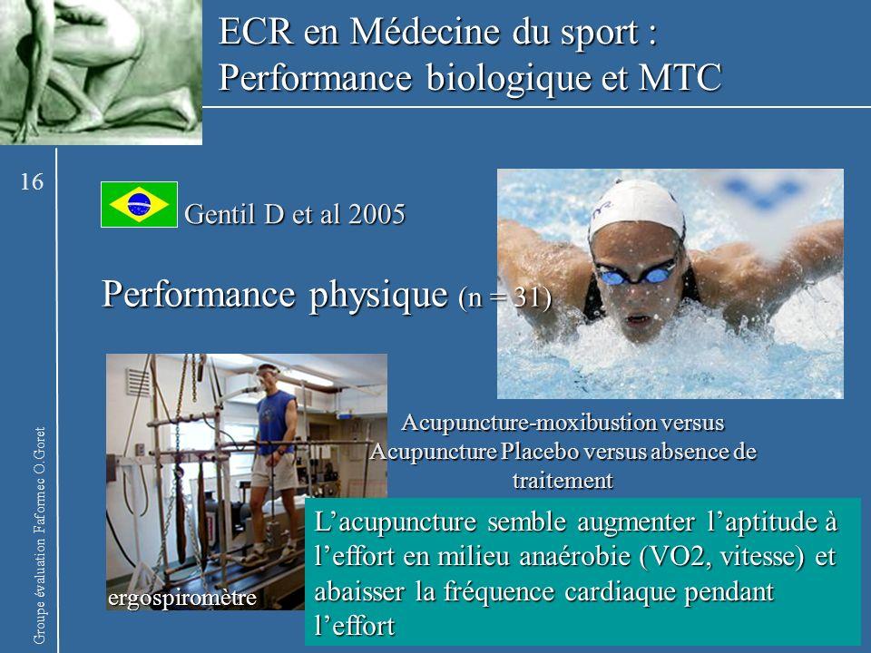 Groupe évaluation Faformec O.Goret ergospiromètre Performance physique (n = 31) Gentil D et al 2005 Lacupuncture semble augmenter laptitude à leffort