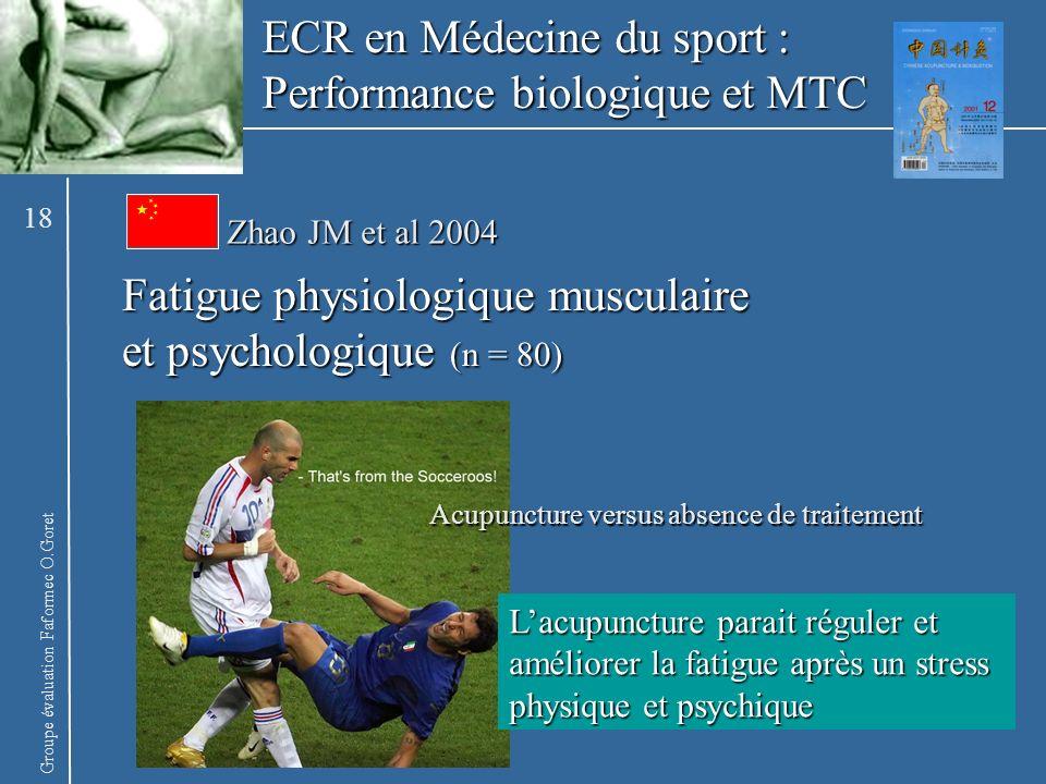 Groupe évaluation Faformec O.Goret Zhao JM et al 2004 Fatigue physiologique musculaire et psychologique (n = 80) Lacupuncture parait réguler et amélio