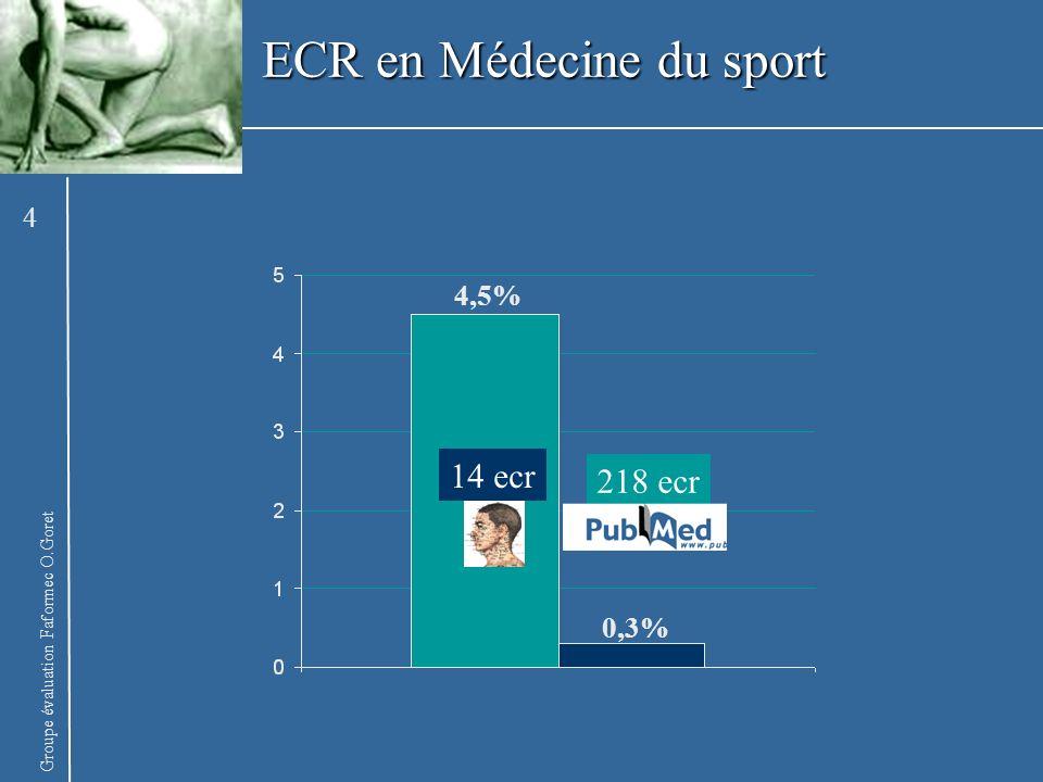 Groupe évaluation Faformec O.Goret ECR en Médecine du sport 14 ecr 218 ecr 4,5% 0,3% 4
