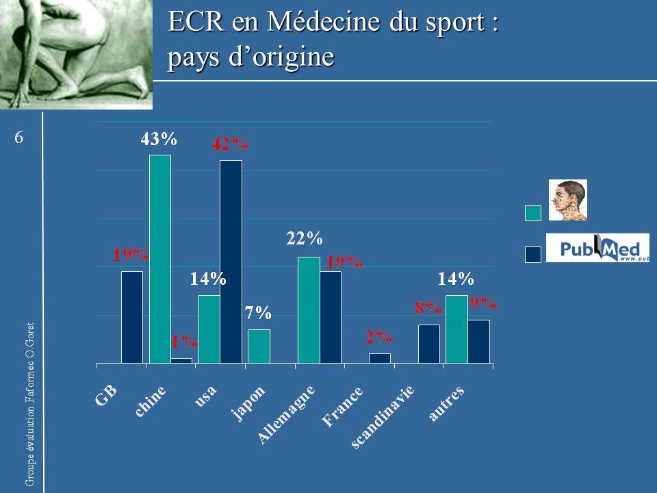 Groupe évaluation Faformec O.Goret Récupération de la fatigue musculaire (n=10) Kitaoka Y 1993 La magneto-acupuncture au point 36E accélère la récupération de la fatigue musculaire (PCO2) magneto-acupuncture versus acupuncture 17 ECR en Médecine du sport : Performance biologique et MTC