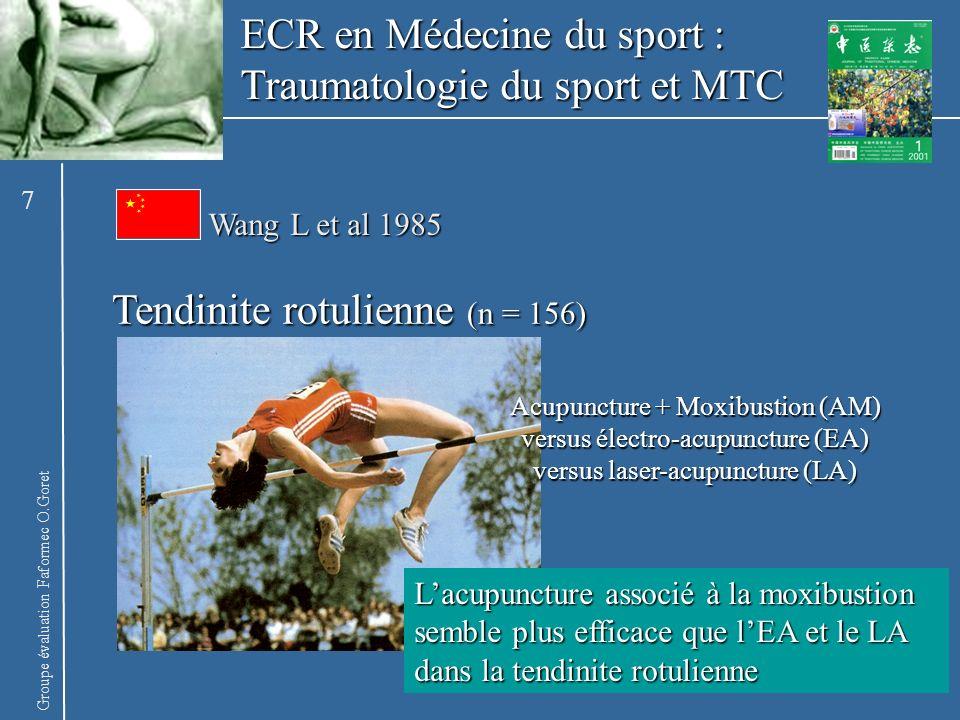 Groupe évaluation Faformec O.Goret ECR en Médecine du sport : Traumatologie du sport et MTC Aponévrosite plantaire (n = 43) Acupuncture (A) versus A Placebo (AP) versus traitement conventionnel (TC) Lacupuncture semble efficace sur laponévrite plantaire et a un effet antalgique > à lAP à 4 semaines (S) et > au TC à 4 et 7 S Vrchota KD et al 1991 8