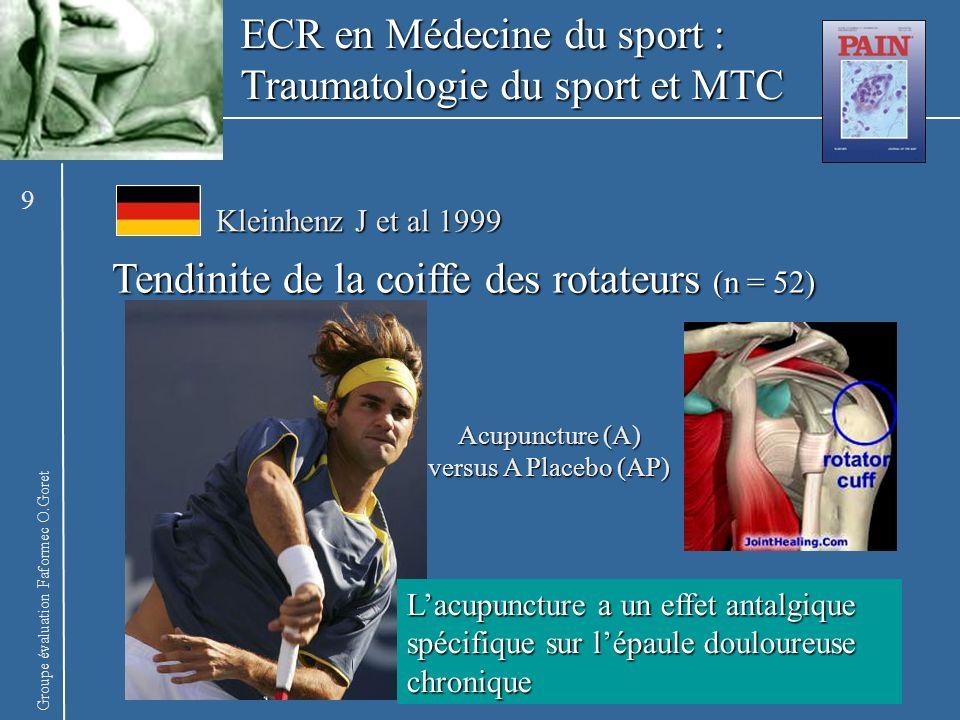Groupe évaluation Faformec O.Goret ECR en Médecine du sport : Traumatologie du sport et MTC Tendinite de la coiffe des rotateurs (n = 52) Lacupuncture
