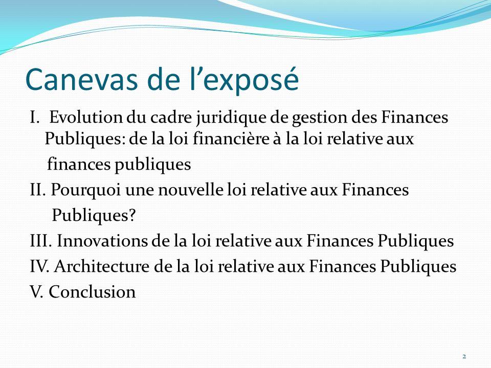 Modernisation du cadre juridique de gestion des Finances Publiques: De la Loi Financière à la Loi relative aux Finances Publiques Par Godefroid MISENG