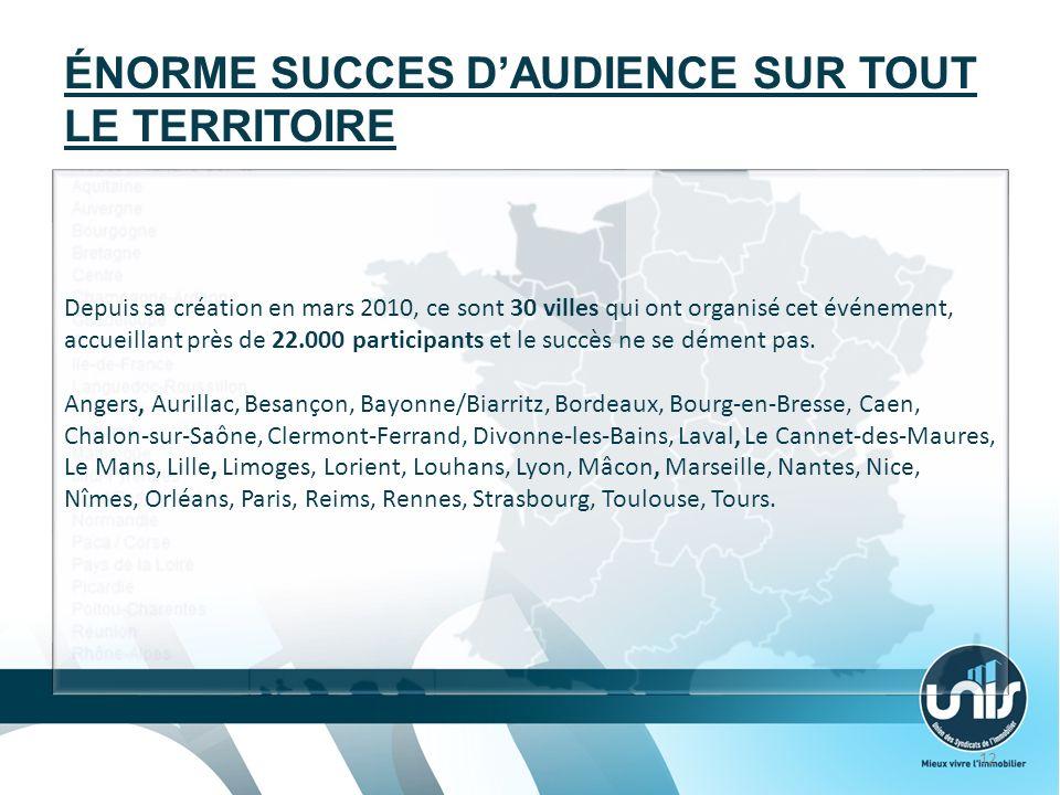 ÉNORME SUCCES DAUDIENCE SUR TOUT LE TERRITOIRE Depuis sa création en mars 2010, ce sont 30 villes qui ont organisé cet événement, accueillant près de 22.000 participants et le succès ne se dément pas.