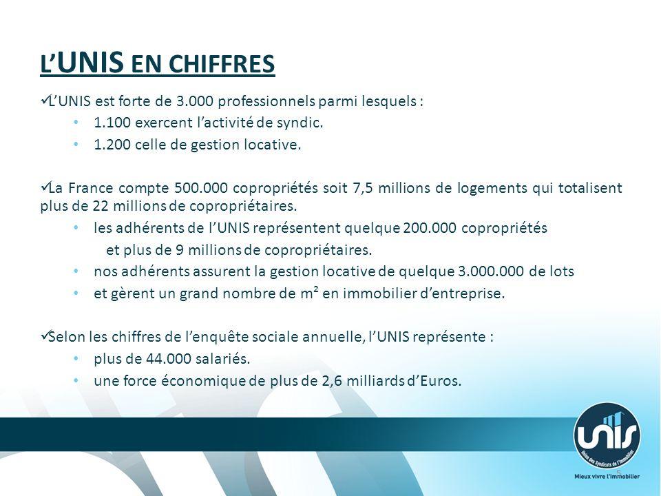 L UNIS EN CHIFFRES LUNIS est forte de 3.000 professionnels parmi lesquels : 1.100 exercent lactivité de syndic.