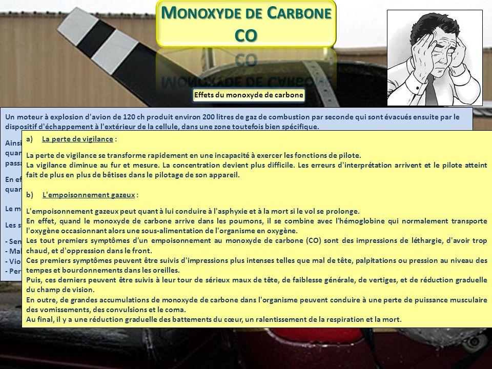 Pénétration du CO en cabine Lorsque l avion s use et se détériore, le risque de pénétration de monoxyde de carbone (CO) peut provenir de fuites gazeuses qui passent à travers des orifices accidentels du système d échappement.