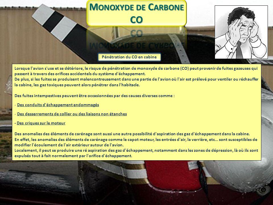 f) La mise en place et la surveillance d un détecteur de monoxyde de carbone à bord de l avion : S il s agit d une pastille sensible, son changement de couleur témoigne de la présence de monoxyde de carbone (CO).
