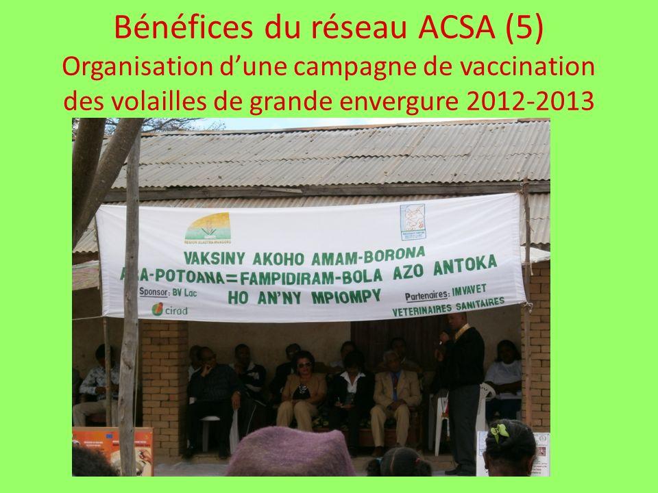 Bénéfices du réseau ACSA (5) Organisation dune campagne de vaccination des volailles de grande envergure 2012-2013