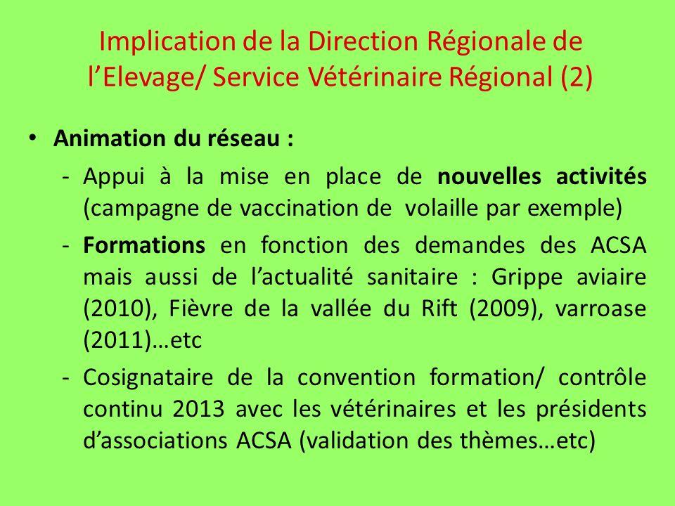 Implication de la Direction Régionale de lElevage/ Service Vétérinaire Régional (2) Animation du réseau : -Appui à la mise en place de nouvelles activités (campagne de vaccination de volaille par exemple) -Formations en fonction des demandes des ACSA mais aussi de lactualité sanitaire : Grippe aviaire (2010), Fièvre de la vallée du Rift (2009), varroase (2011)…etc -Cosignataire de la convention formation/ contrôle continu 2013 avec les vétérinaires et les présidents dassociations ACSA (validation des thèmes…etc)