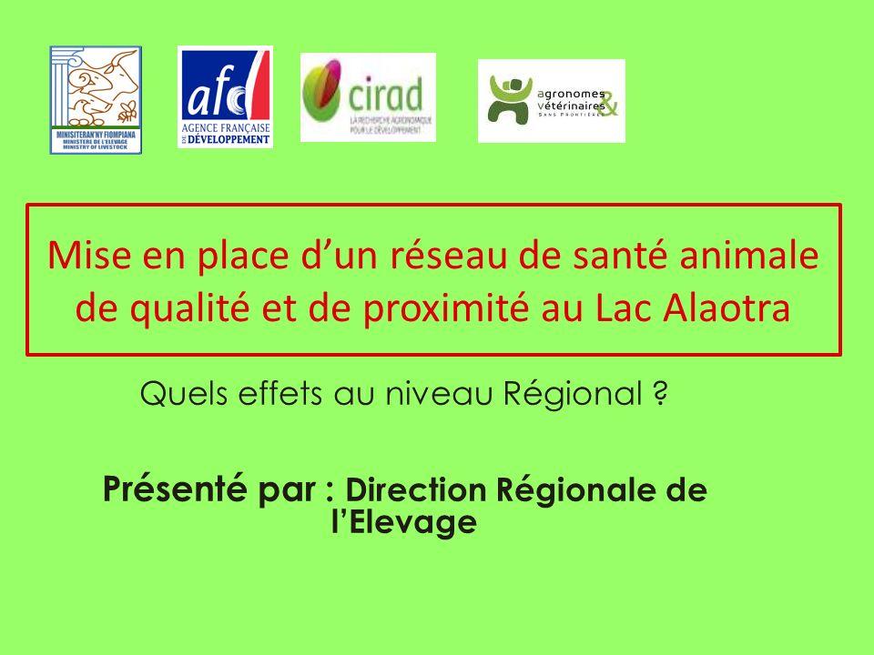 Mise en place dun réseau de santé animale de qualité et de proximité au Lac Alaotra Quels effets au niveau Régional .