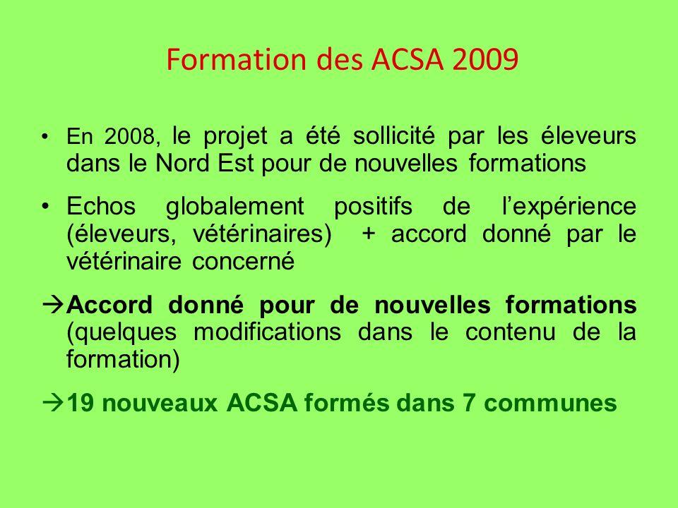 Formation des ACSA 2009 En 2008, le projet a été sollicité par les éleveurs dans le Nord Est pour de nouvelles formations Echos globalement positifs de lexpérience (éleveurs, vétérinaires) + accord donné par le vétérinaire concerné Accord donné pour de nouvelles formations (quelques modifications dans le contenu de la formation) 19 nouveaux ACSA formés dans 7 communes