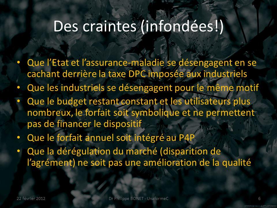 Des craintes (infondées!) Que lEtat et lassurance-maladie se désengagent en se cachant derrière la taxe DPC imposée aux industriels Que les industriel