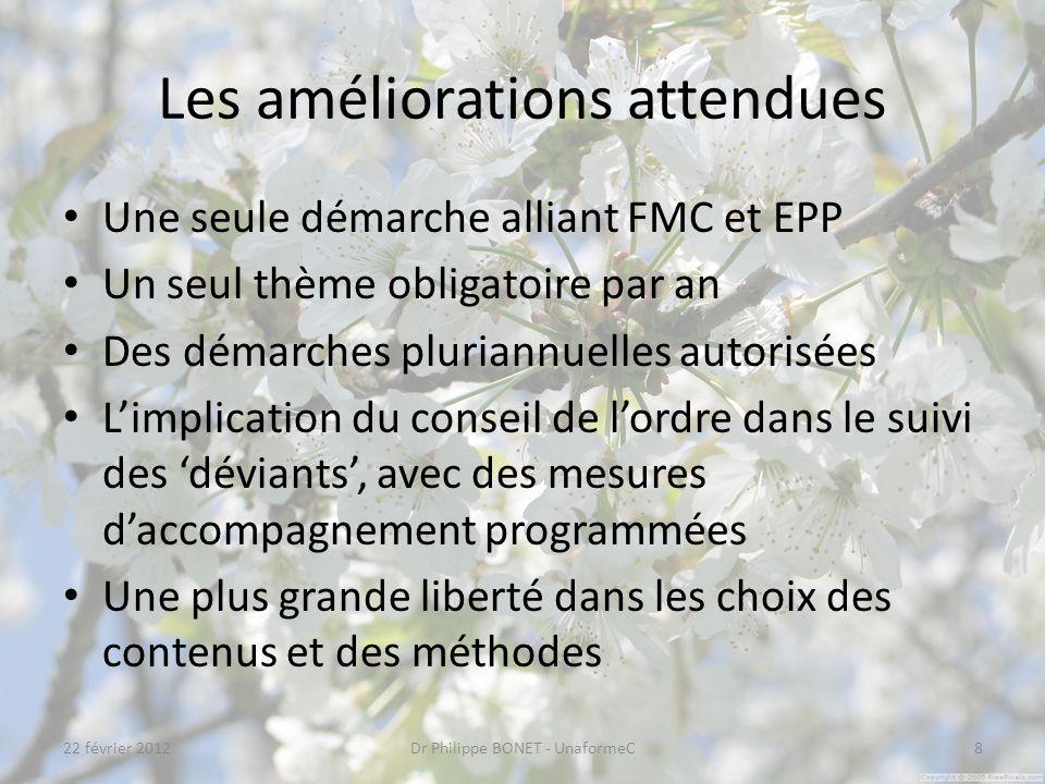 Les améliorations attendues Une seule démarche alliant FMC et EPP Un seul thème obligatoire par an Des démarches pluriannuelles autorisées Limplicatio