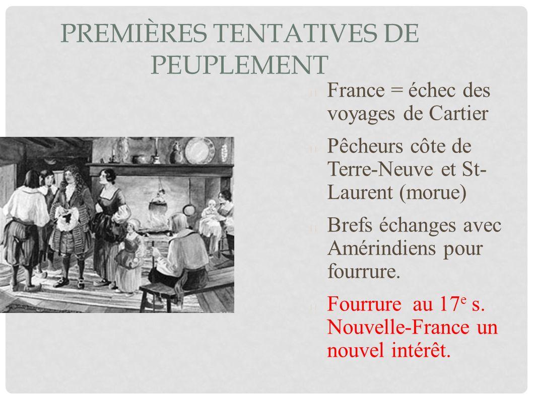 PREMIÈRES TENTATIVES DE PEUPLEMENT France = échec des voyages de Cartier Pêcheurs côte de Terre-Neuve et St- Laurent (morue) Brefs échanges avec Améri