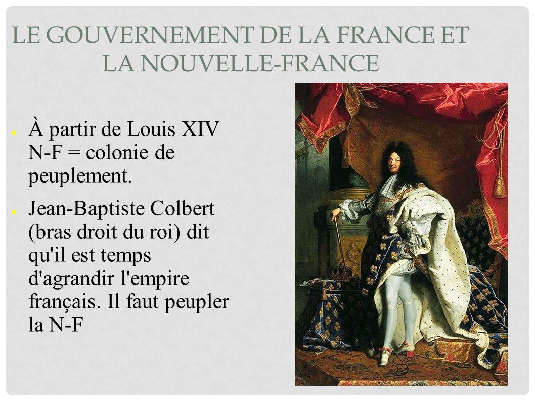 LE GOUVERNEMENT DE LA FRANCE ET LA NOUVELLE-FRANCE À partir de Louis XIV N-F = colonie de peuplement. Jean-Baptiste Colbert (bras droit du roi) dit qu