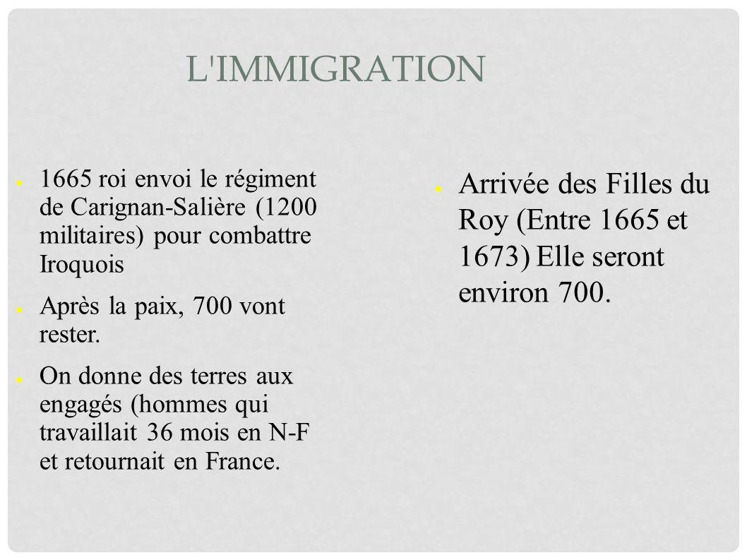 L'IMMIGRATION 1665 roi envoi le régiment de Carignan-Salière (1200 militaires) pour combattre Iroquois Après la paix, 700 vont rester. On donne des te
