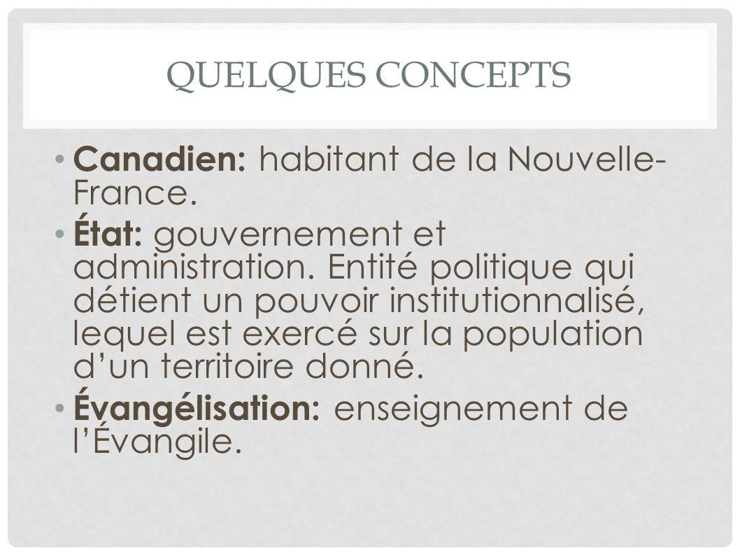QUELQUES CONCEPTS Canadien: habitant de la Nouvelle- France. État: gouvernement et administration. Entité politique qui détient un pouvoir institution