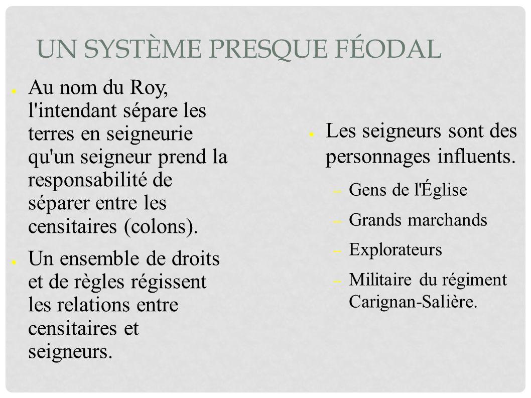 UN SYSTÈME PRESQUE FÉODAL Au nom du Roy, l'intendant sépare les terres en seigneurie qu'un seigneur prend la responsabilité de séparer entre les censi