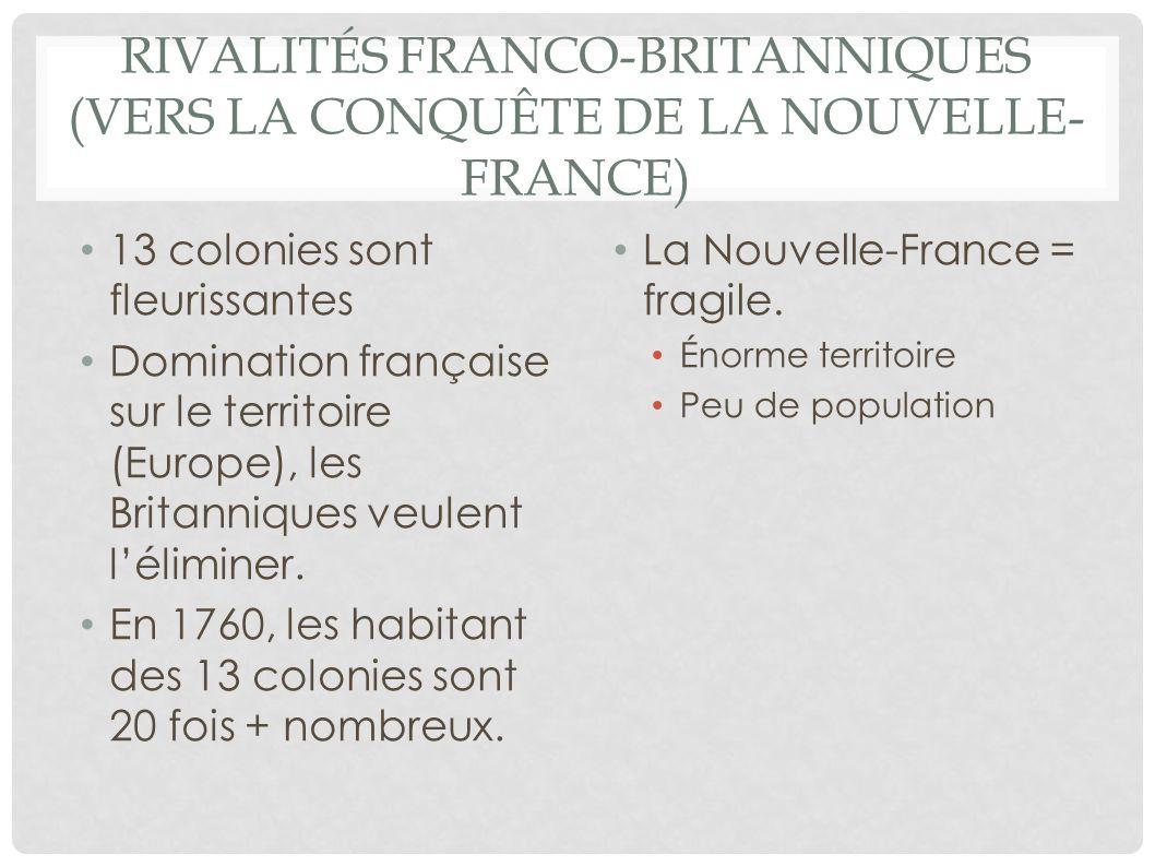 RIVALITÉS FRANCO-BRITANNIQUES (VERS LA CONQUÊTE DE LA NOUVELLE- FRANCE) 13 colonies sont fleurissantes Domination française sur le territoire (Europe)