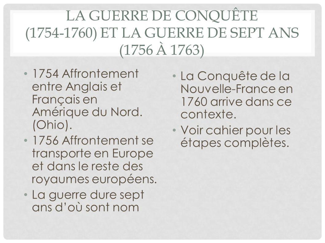 LA GUERRE DE CONQUÊTE (1754-1760) ET LA GUERRE DE SEPT ANS (1756 À 1763) 1754 Affrontement entre Anglais et Français en Amérique du Nord. (Ohio). 1756