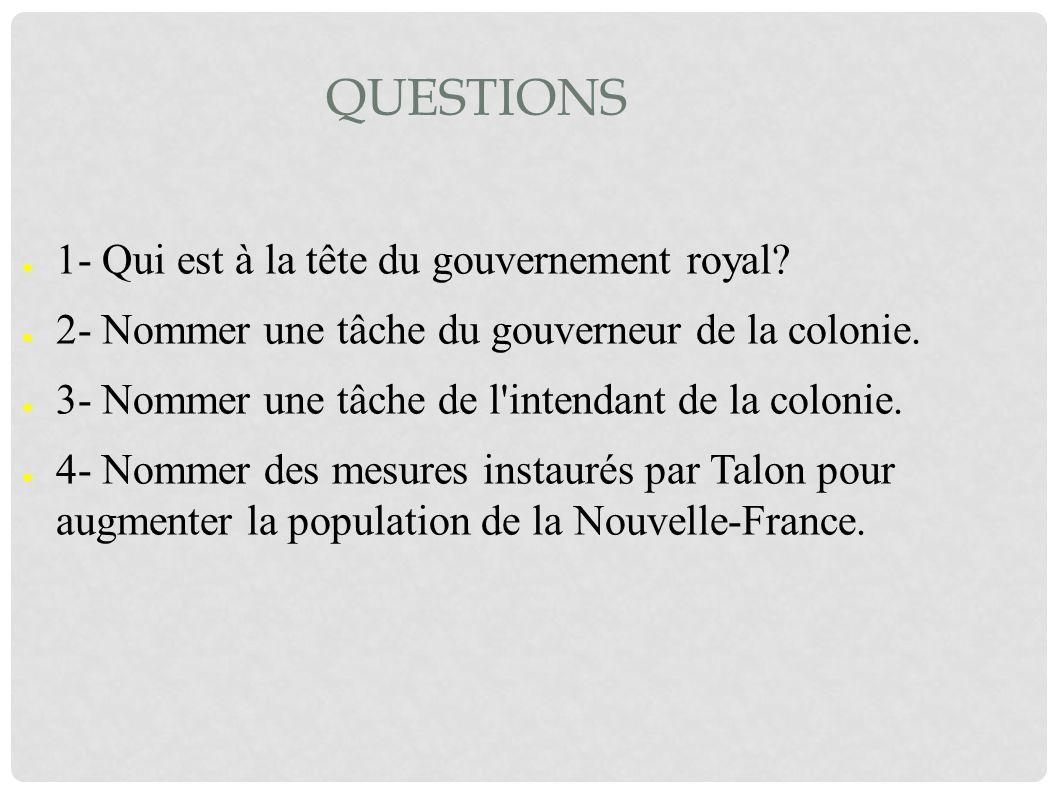 QUESTIONS 1- Qui est à la tête du gouvernement royal? 2- Nommer une tâche du gouverneur de la colonie. 3- Nommer une tâche de l'intendant de la coloni