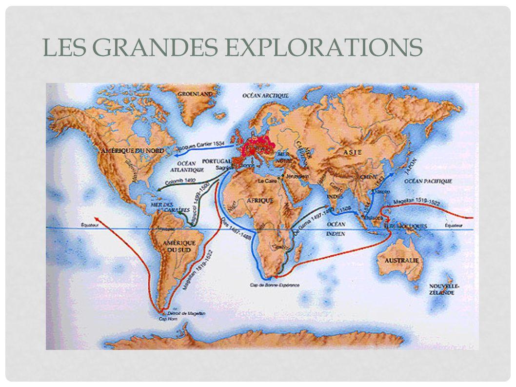 RAISONS DE LEURS VOYAGE Trouver une route vers l Asie et des métaux précieux (Renaissance) Arrivée de Colomb en Amérique 1492