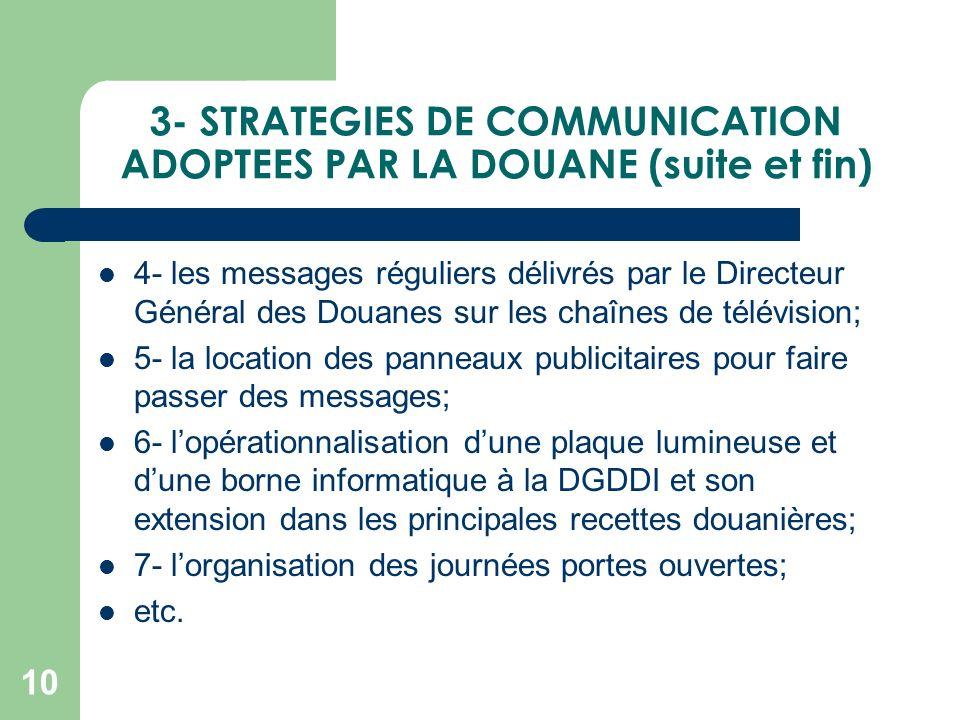 3- STRATEGIES DE COMMUNICATION ADOPTEES PAR LA DOUANE (suite et fin) 4- les messages réguliers délivrés par le Directeur Général des Douanes sur les c