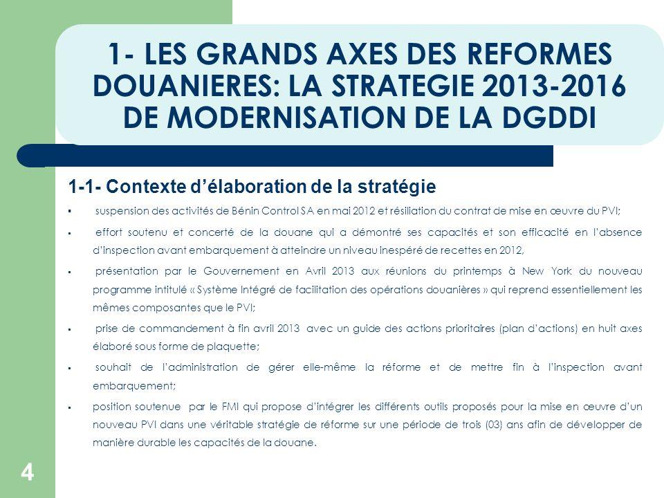 1- LES GRANDS AXES DES REFORMES DOUANIERES: LA STRATEGIE 2013-2016 DE MODERNISATION DE LA DGDDI 1-1- Contexte délaboration de la stratégie suspension