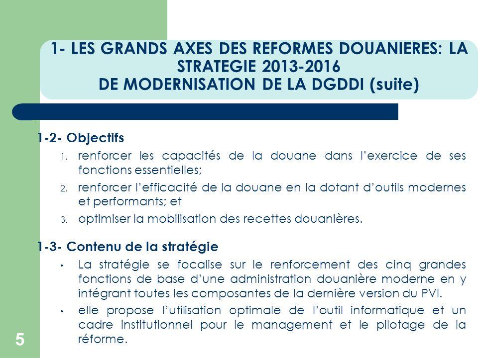 1- LES GRANDS AXES DES REFORMES DOUANIERES: LA STRATEGIE 2013-2016 DE MODERNISATION DE LA DGDDI (suite) 5 1-2- Objectifs 1. renforcer les capacités de