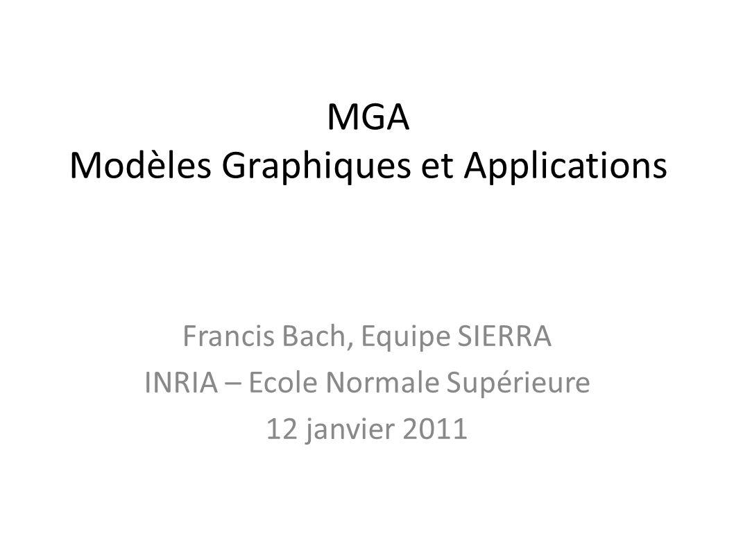 MGA Modèles Graphiques et Applications Francis Bach, Equipe SIERRA INRIA – Ecole Normale Supérieure 12 janvier 2011