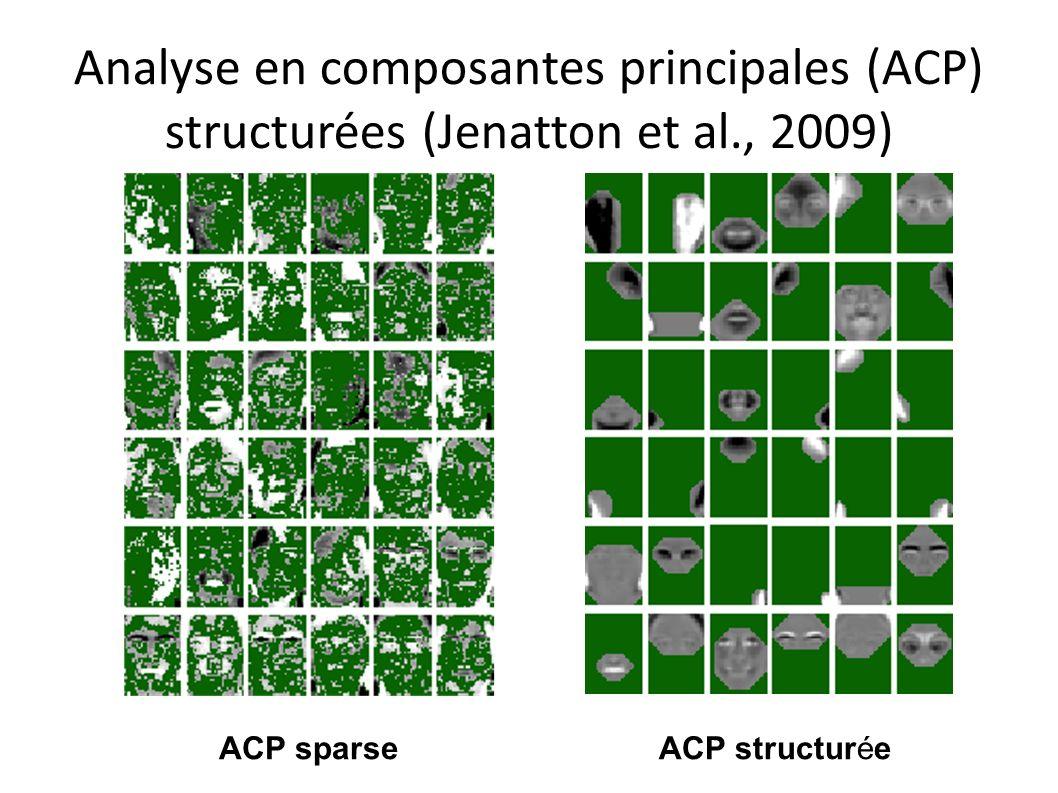 Analyse en composantes principales (ACP) structurées (Jenatton et al., 2009) ACP sparseACP structurée