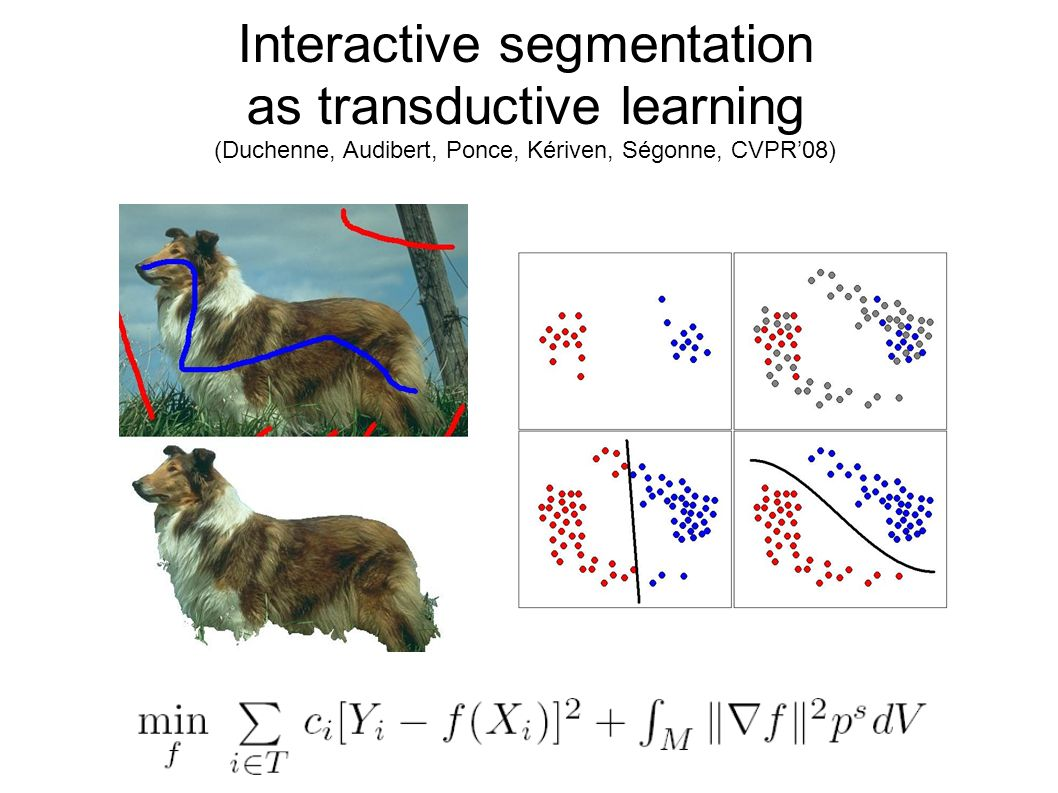 Interactive segmentation as transductive learning (Duchenne, Audibert, Ponce, Kériven, Ségonne, CVPR08)