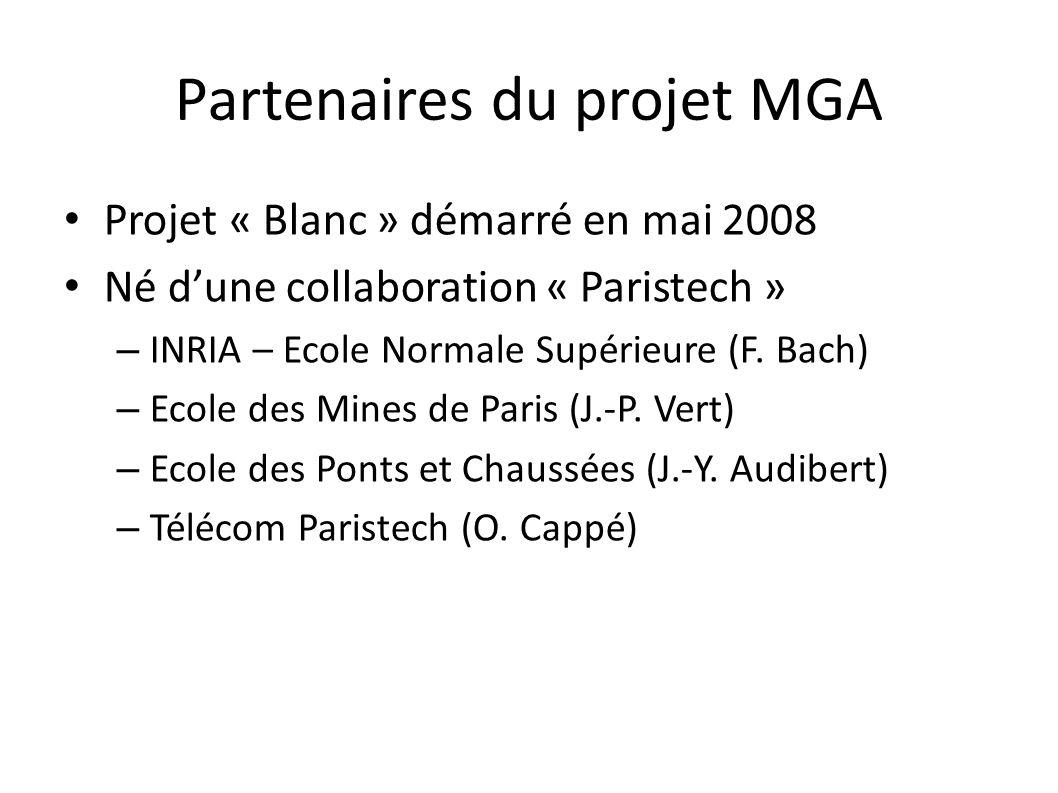 Partenaires du projet MGA Projet « Blanc » démarré en mai 2008 Né dune collaboration « Paristech » – INRIA – Ecole Normale Supérieure (F.